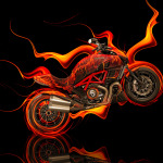 Ducati Diavel Side Fire Abstract Bike 2014