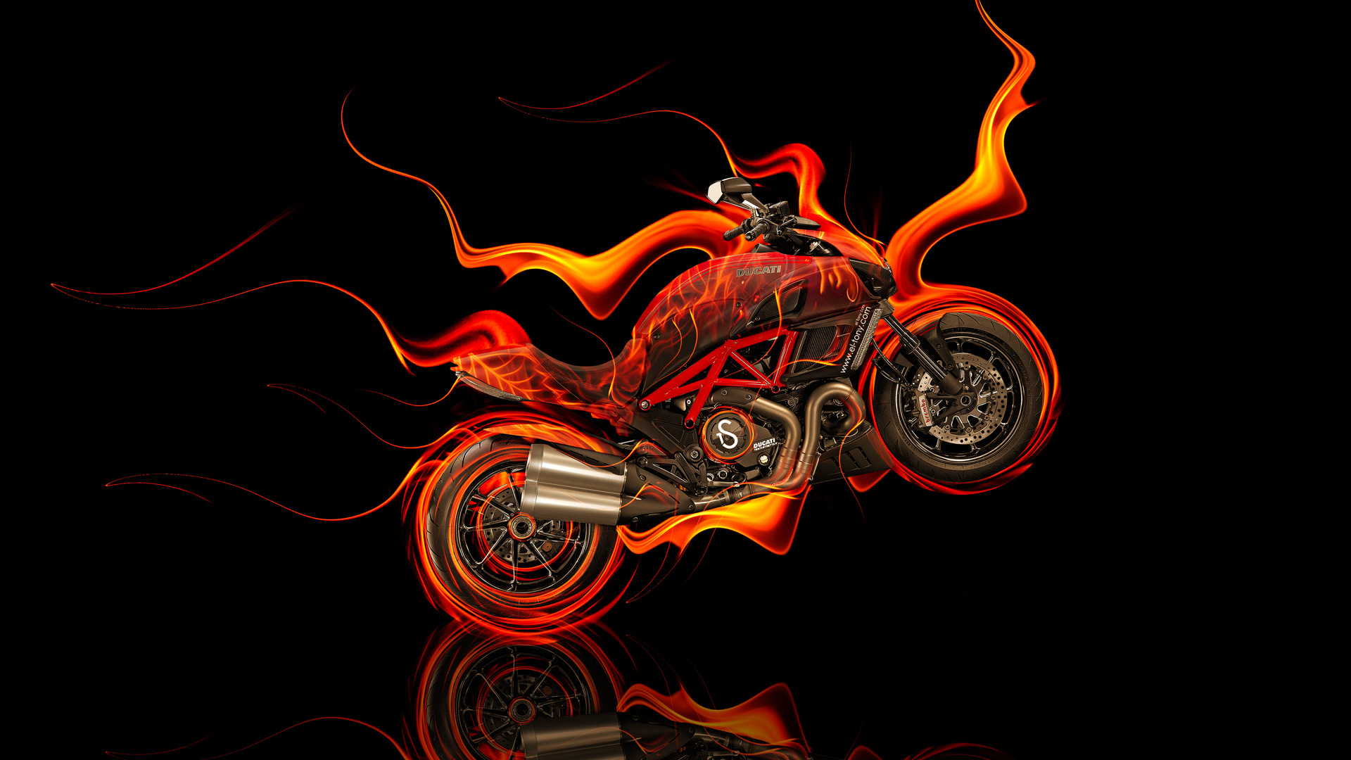 Incroyable Moto Ducati Diavel Side Fire Abstract Bike 2014