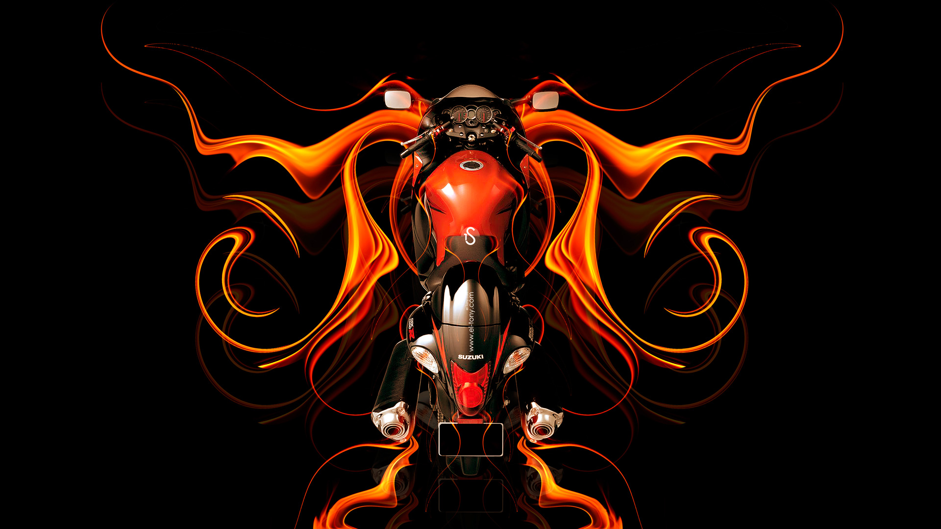 Lovely Moto Suzuki Hayabusa BackUp Super Fire Abstract Bike