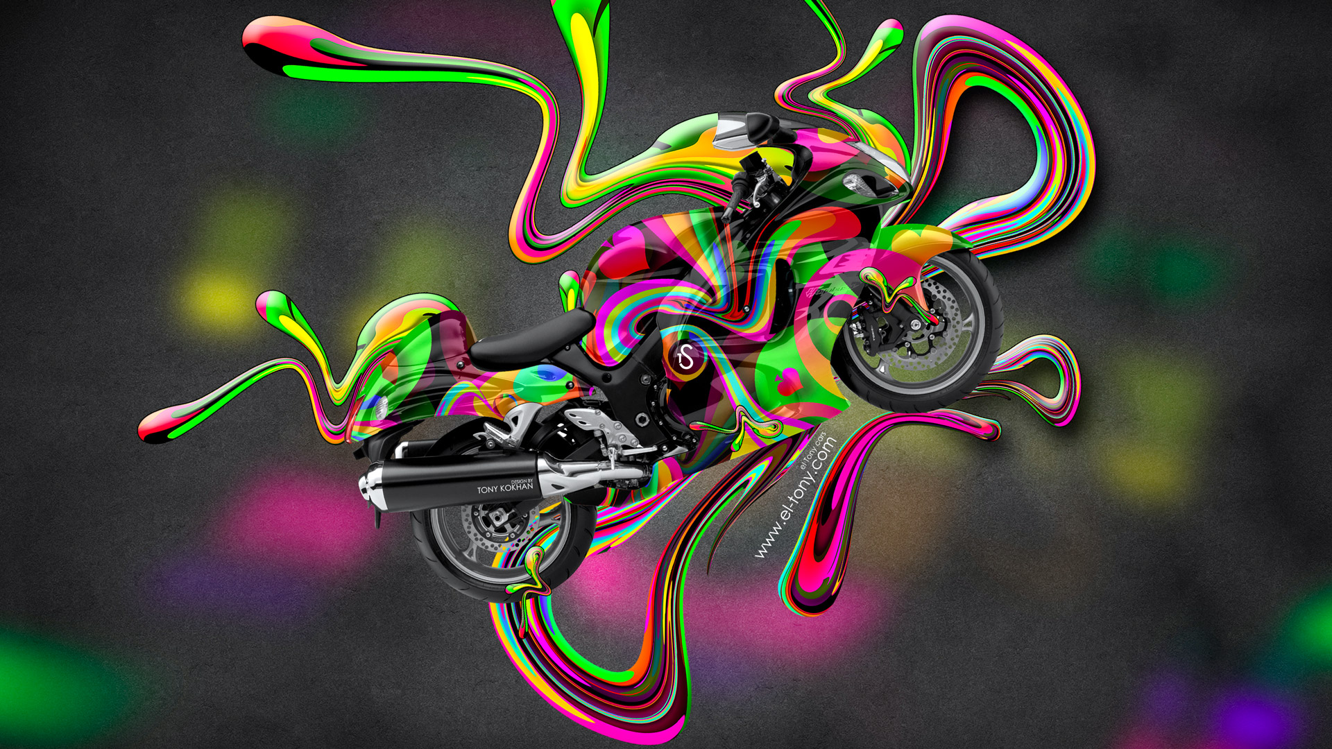 Moto Suzuki Hayabusa Side Super Abstract Aerography Plastic