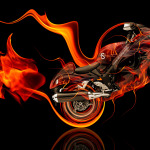 Suzuki Hayabusa Side Super Fire Abstract Bike 2014