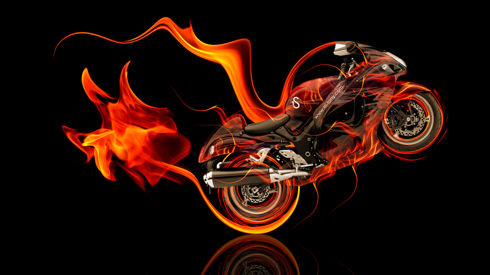 Nice Moto Suzuki Hayabusa Side Super Fire Abstract Bike