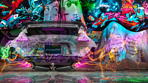 Nissan-370Z-JDM-City-Fantasy-Crystal-Graffiti-Fly-Car-2014-Art-Multicolors-Photoshop-HD-Wallpapers-design-by-Tony-Kokhan-[www.el-tony.com]