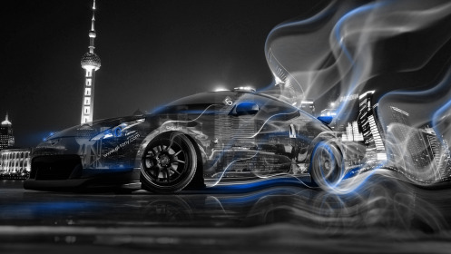 Nissan-370Z-JDM-Crystal-City-Smoke-Drift-Car-2014-Art-Blue-Neon-HD-Wallpapers-design-by-Tony-Kokhan-[www.el-tony.com]