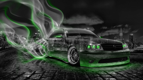 Nissan-Cedric-JDM-Crystal-City-Smoke-Drift-Car-2014-Art-Green-Neon-HD-Wallpapers-design-by-Tony-Kokhan-[www.el-tony.com]