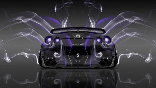 Nissan-GTR-R35-Back-Smoke-Car-2014-Violet-Neon-HD-Wallpapers-design-by-Tony-Kokhan-[www.el-tony.com]