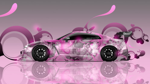 Nissan-GTR-R35-Tuning-Side-Anime-Aerography-Girl-Car-2014-Pink-Soft-Image-HD-Wallpapers-design-by-Tony-Kokhan-[www.el-tony.com]
