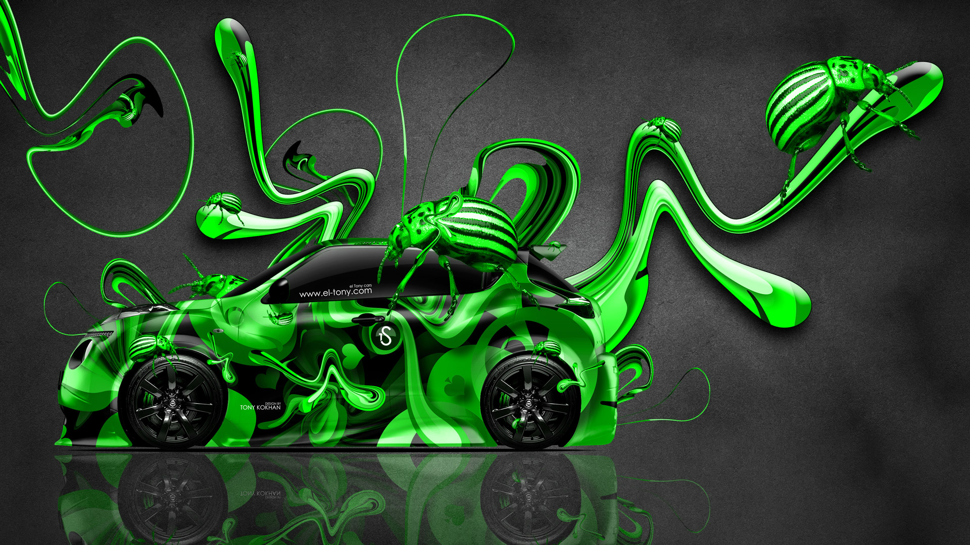 Toyota Mark2 JZX90 JDM Back Anime Samurai Aerography ... Nissan Juke R Super  Abstract Aerography Plastic Beetle .