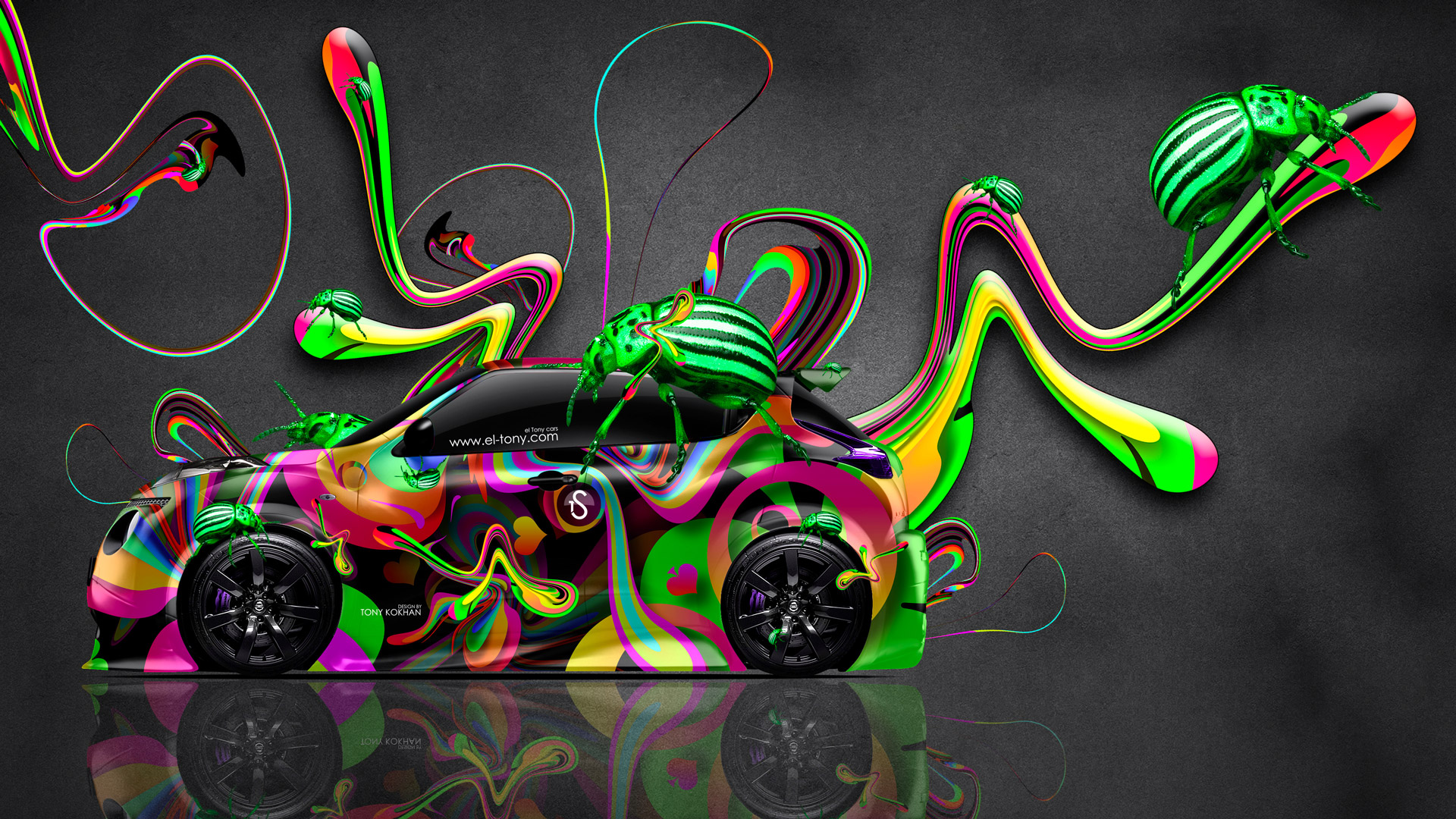 Nissan-Juke-R-Super-Abstract-Aerography-Plastic-Beetle-Car-2014-Multicolors-HD-Wallpapers-design-by-Tony-Kokhan-[www.el-tony.com]