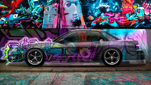 Nissan-Silvia-S13-JDM-Crystal-Graffiti-Car-2014-Photoshop-Art-Multicolors-HD-Wallpapers-design-by-Tony-Kokhan-[www.el-tony.com]