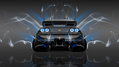 Nissan-Skyline-GTR-R33-Back-Smoke-Car-2014-Blue-Neon-HD-Wallpapers-design-by-Tony-Kokhan-[www.el-tony.com]