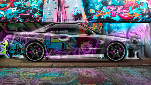 Nissan-Skyline-GTR-R34-JDM-Side-Crystal-Graffiti-Car-2014-Multicolors-HD-Wallpapers-design-by-Tony-Kokhan-[www.el-tony.com]