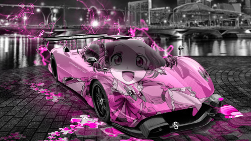 Pagani-Zonda-R-Anime-Aerography-Girl-City-Car-2014-Pink-Effects-HD-Wallpapers-design-by-Tony-Kokhan-[www.el-tony.com]