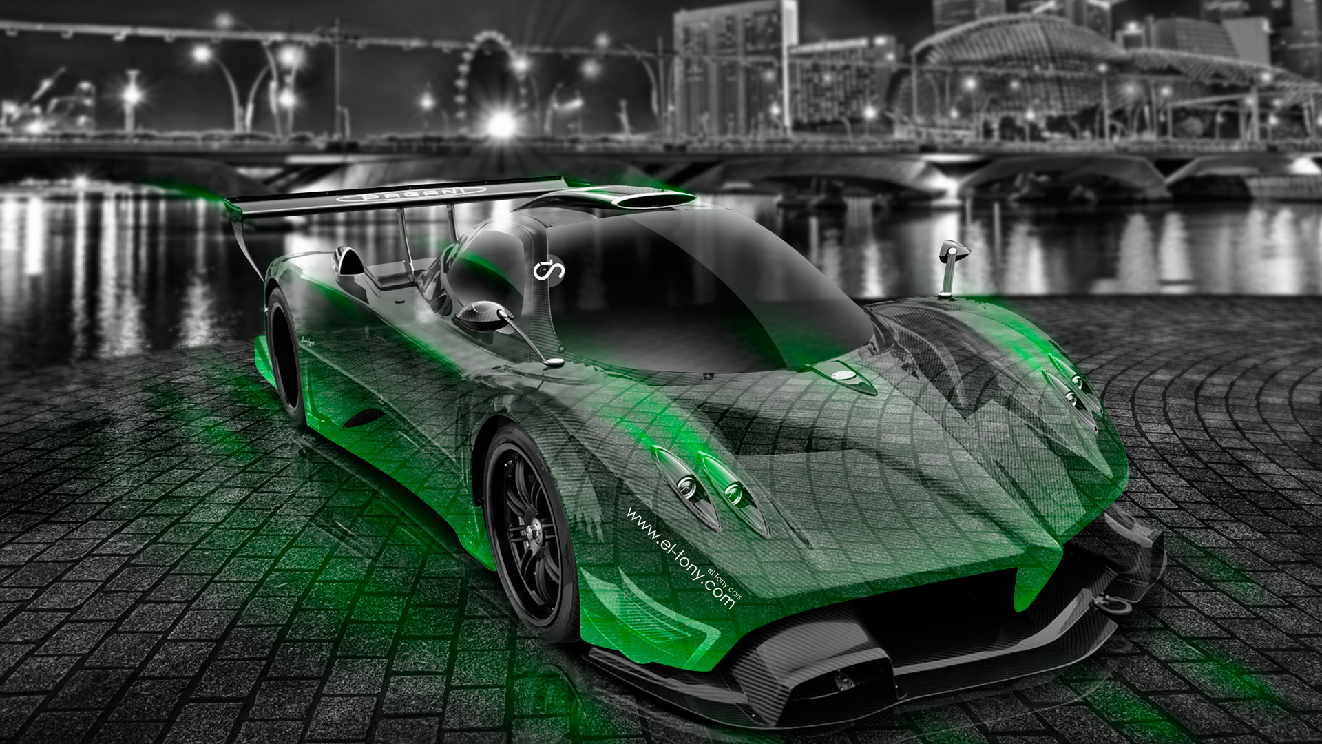 Pagani-Zonda-R-Crystal-City-Car-2014-Green-Neon-HD-Wallpapers-design-by-Tony-Kokhan-[www.el-tony.com]