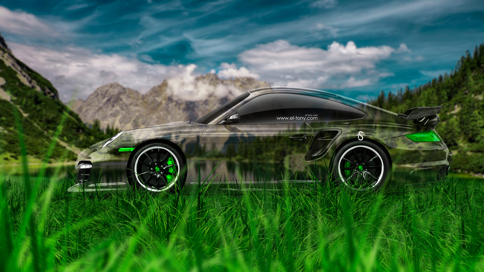 Porsche-911-GT2-Side-Crystal-Nature-Car-2014-Photoshop-HD-Wallpapers-design-by-Tony-Kokhan-[www.el-tony.com]