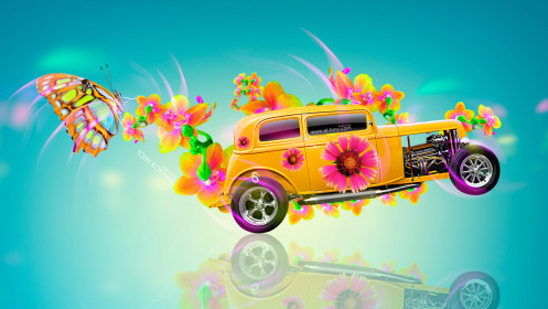 Retro-Side-Super-Flowers-Butterfly-Car-2014-Multicolors-HD-Wallpapers-design-by-Tony-Kokhan-[www.el-tony.com]