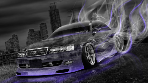 Toyota-Chaser-JZX100-Crystal-City-Smoke-Drift-Car-2014-Violet-Neon-HD-Wallpapers-design-by-Tony-Kokhan-[www.el-tony.com]