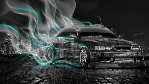 Toyota-Chaser-JZX100-JDM-Style-Crystal-City-Smoke-Drift-Car-2014-Azure-Neon-HD-Wallpapers-design-by-Tony-Kokhan-[www.el-tony.com]