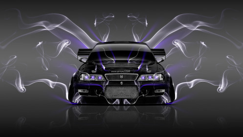 Toyota-Mark-2-JZX100-JDM-Tuning-Front-Smoke-Car-2014-Violet-Neon-HD-Wallpapers-design-by-Tony-Kokhan-[www.el-tony.com]
