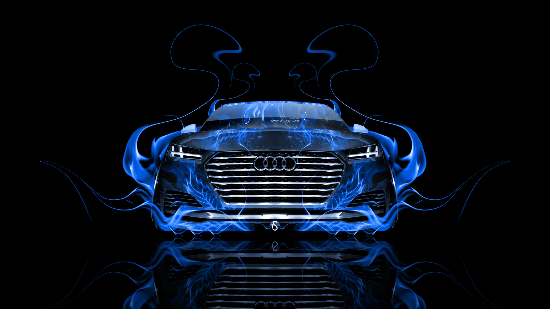 Audi Tt Offroad Front Blue Fire Abstract Car Hd Wallpapers Design By Tony Kokhan Www El Tony Com