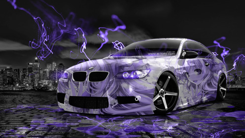 BMW-E92-M3-Anime-Aerography-Girl-City-Car-2014-Art-Violet-Neon-Effects-HD-Wallpapers-design-by-Tony-Kokhan-[www.el-tony.com]
