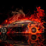 BMW M4 Coupe Side Fire Abstract Car 2014