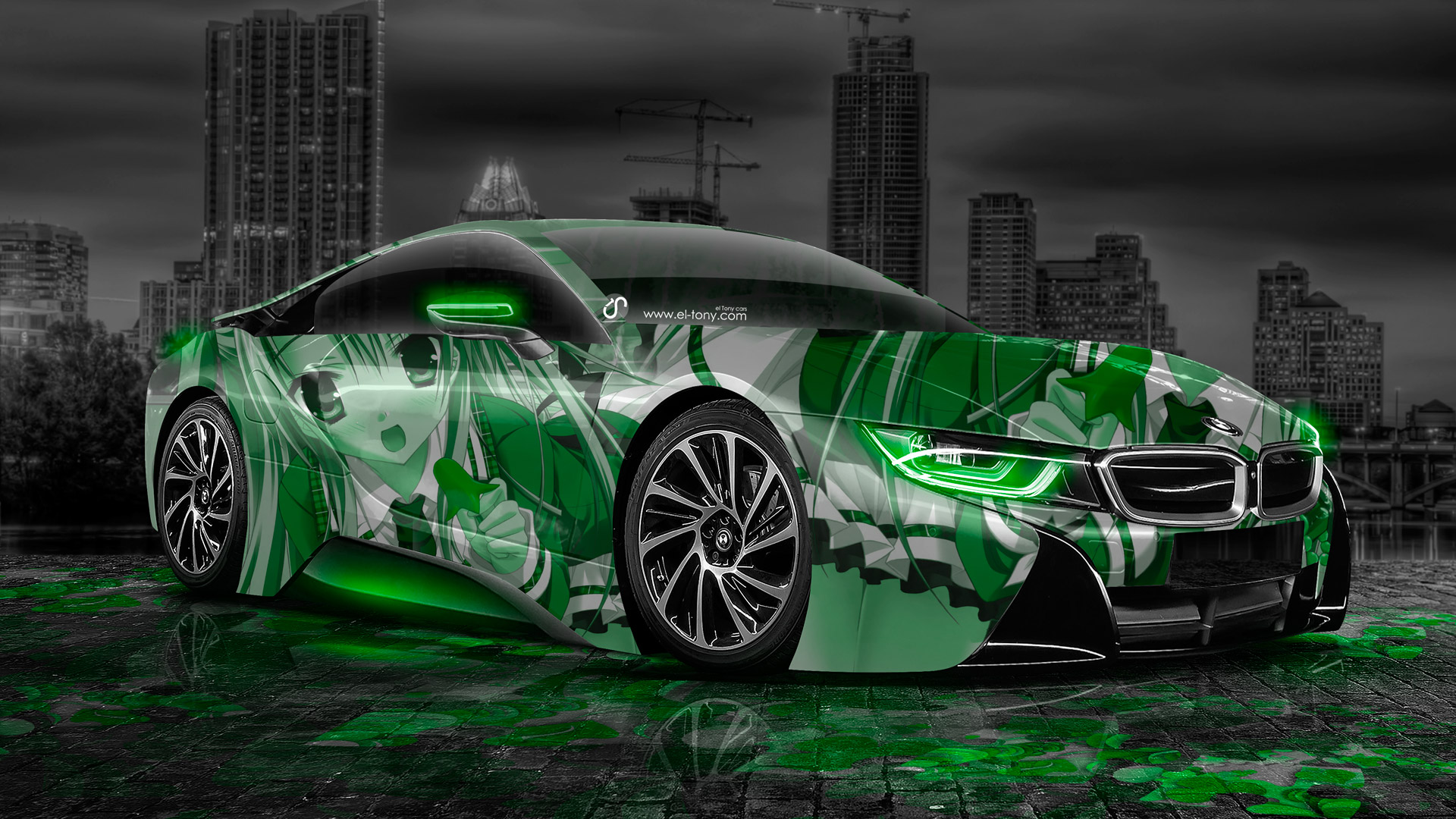 Bmw I Anime Girl Aerography City Car Green Neon Hd Wallpapers Design By Tony Kokhan Www El Tony Com