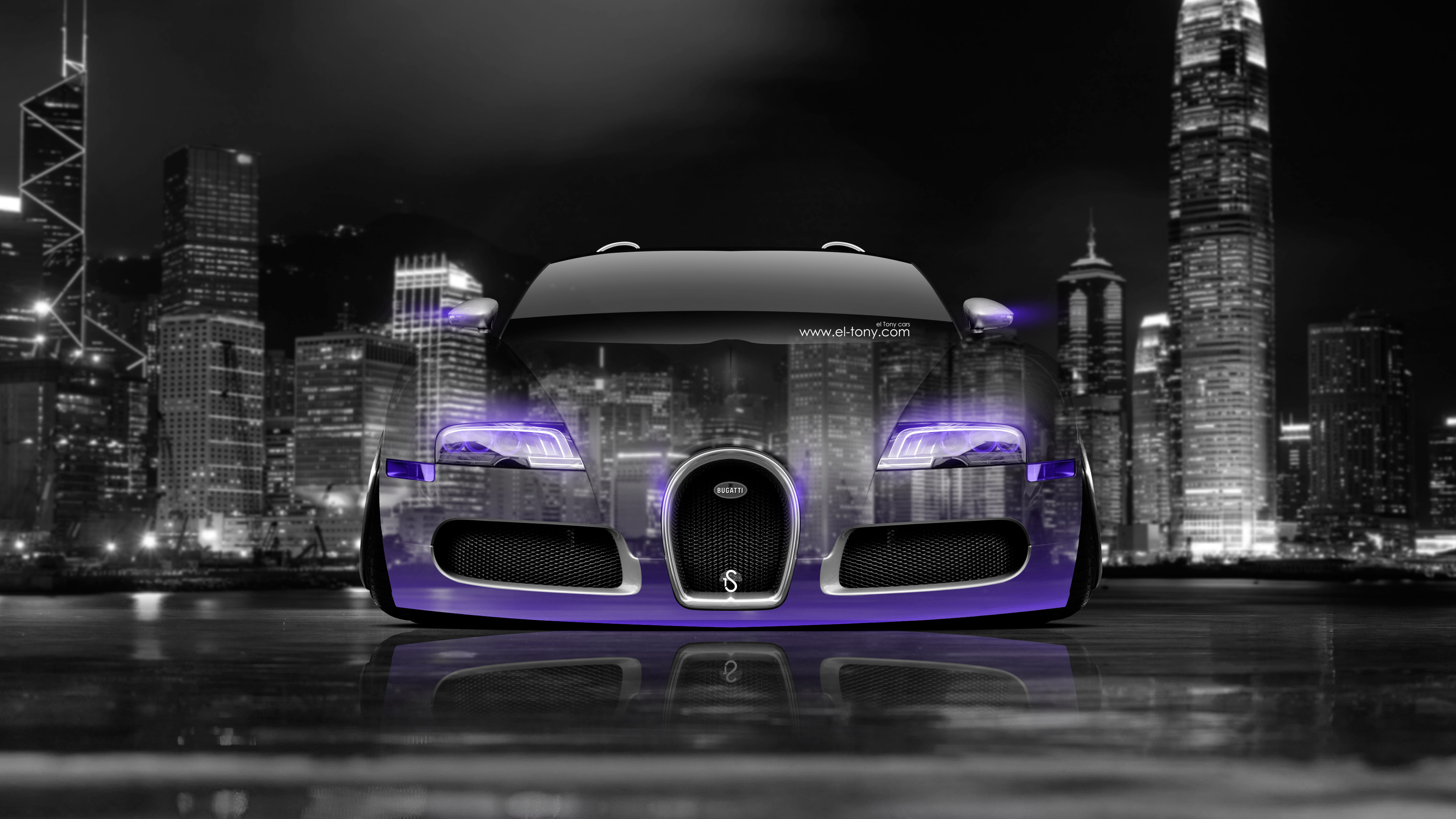 Exceptionnel Bugatti Veyron Front Crystal City Car 2014 Violet
