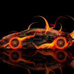Bugatti Veyron Side Fire Abstract Car 2014