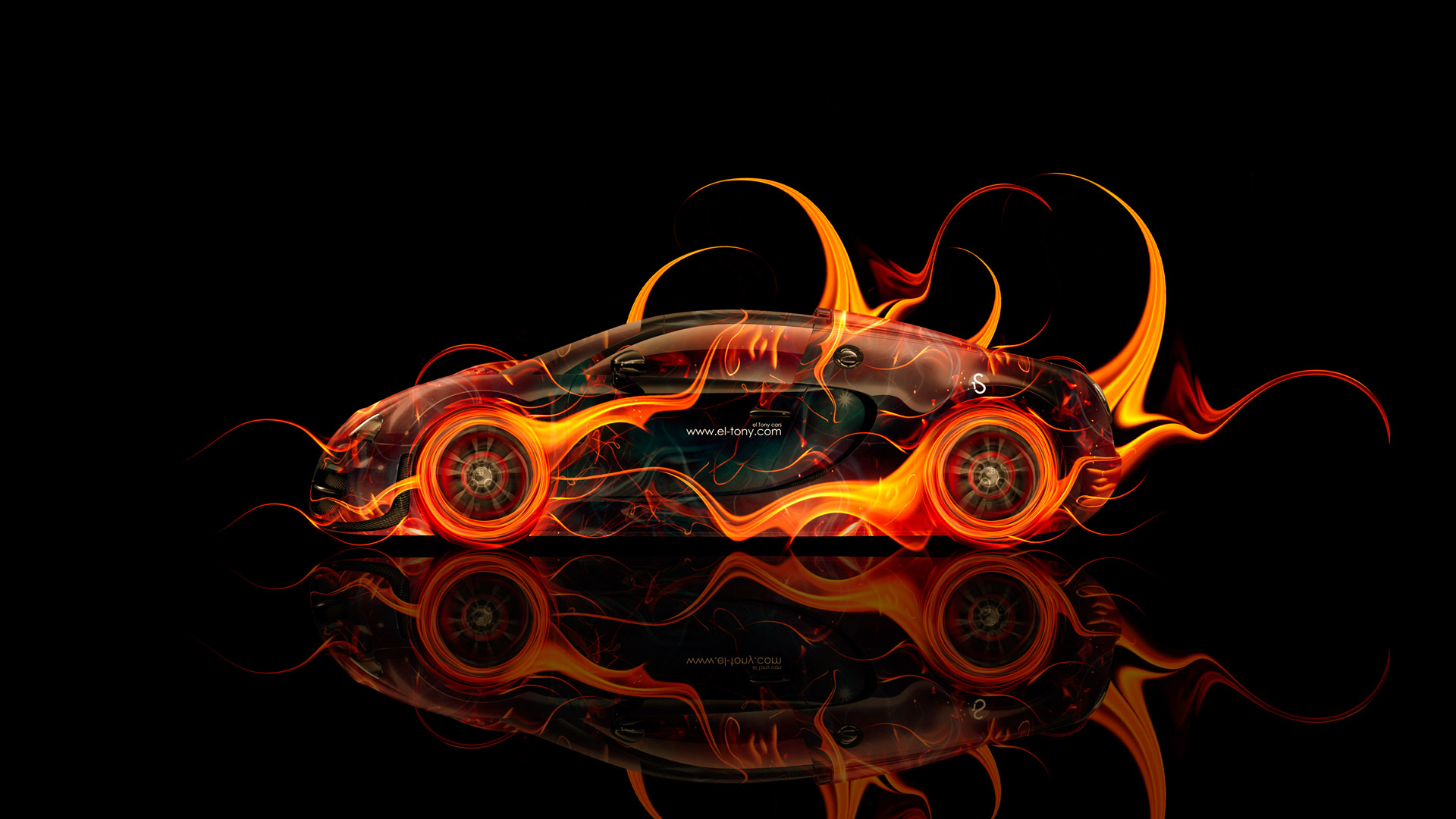Beau Bugatti Veyron Side Fire Abstract Car 2014 HD