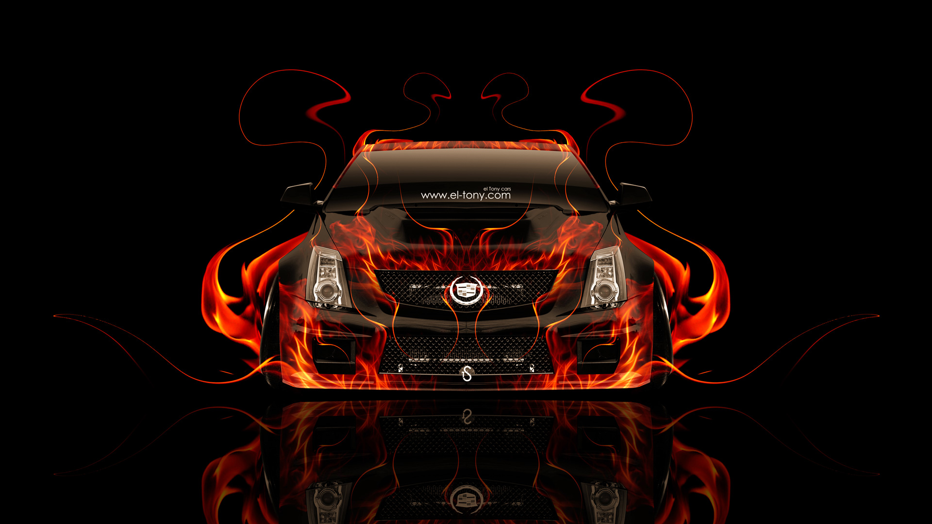 Cadillac-CTS-V-Hennessey-Tuning-Front-Fire-Abstract-Car-2014-HD-Wallpapers-design-by-Tony-Kokhan-[www.el-tony.com]