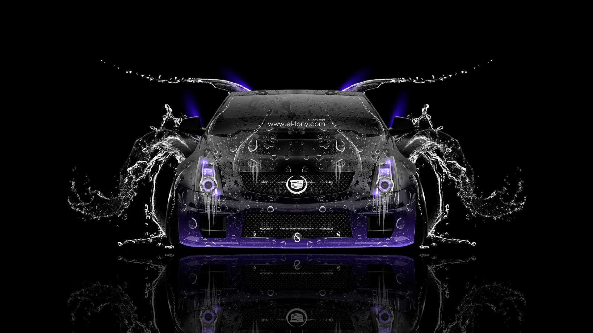 Cadillac-CTS-V-Hennessey-Tuning-Front-Water-Car-2014-Violet-Neon-HD-Wallpapers-design-by-Tony-Kokhan-[www.el-tony.com]