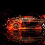 Chevrolet Camaro Muscle Side Fire Abstract Car 2014
