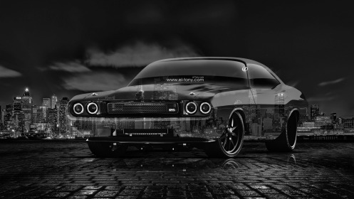 Dodge-Challenger-RS-1970-Muscle-Tuning-Crystal-City-Car-2014-Black-White-HD-Wallpapers-design-by-Tony-Kokhan-[www.el-tony.com]
