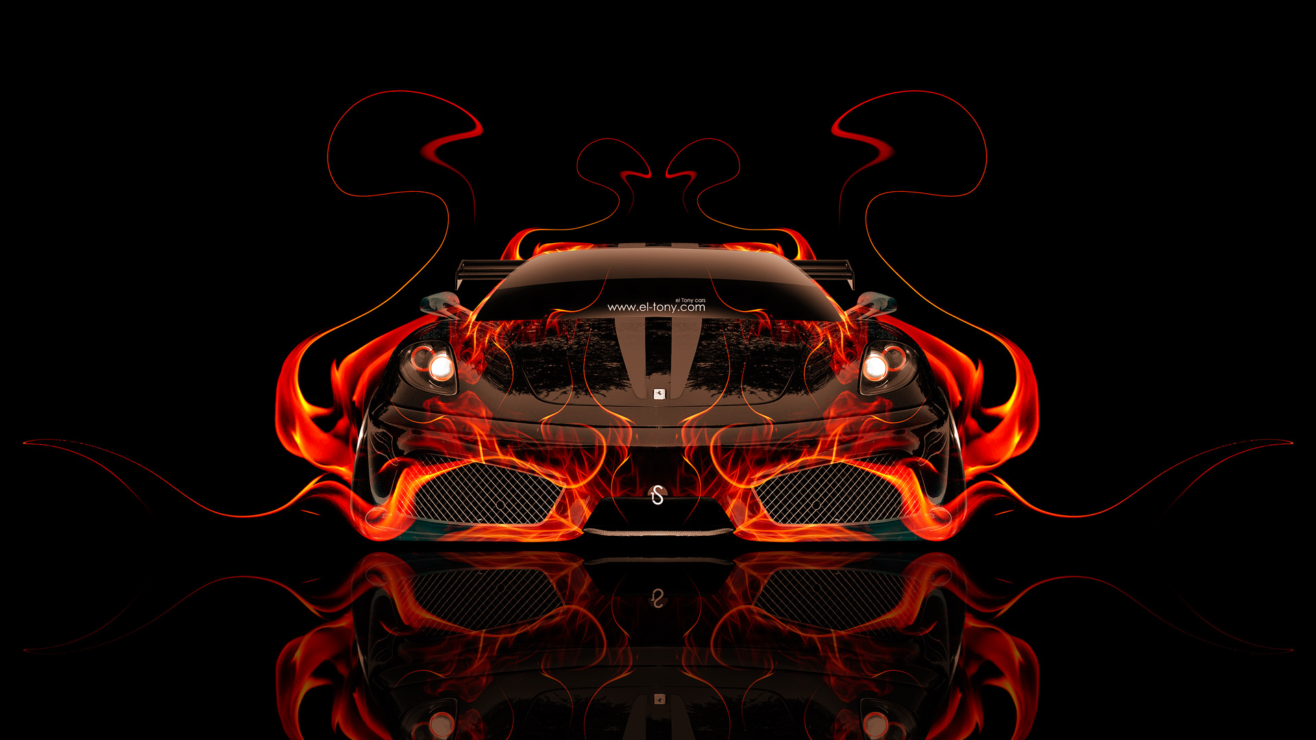 Amazing Bon Ferrari F430 Front Fire Abstract Car 2014