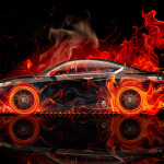 Honda Accord Coupe Side Fire Abstract Car 2014