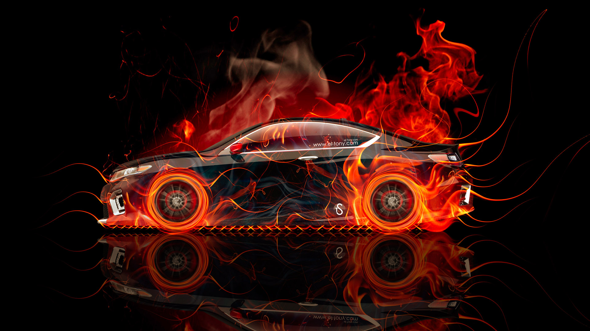 Attirant Honda Accord Coupe JDM Side Fire Abstract Car