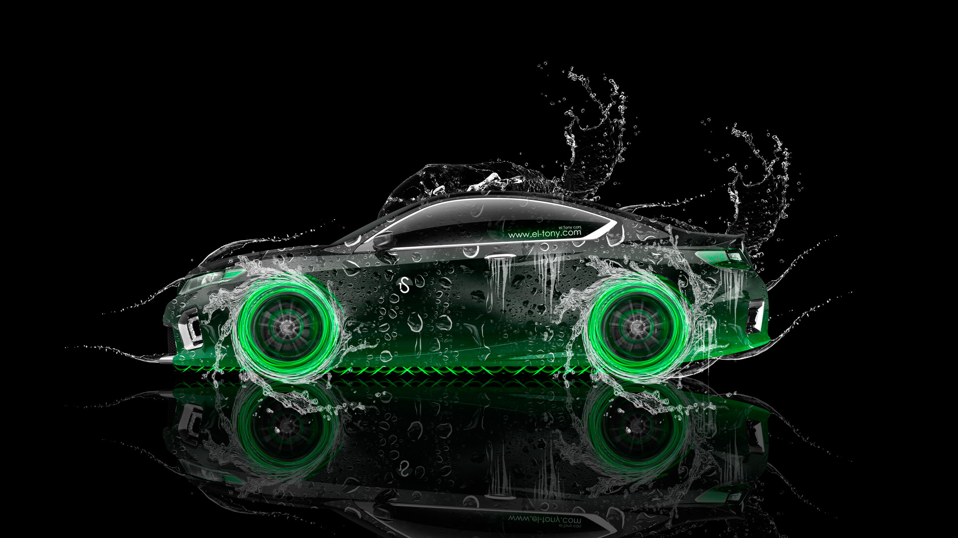 Honda-Accord-Coupe-JDM-Side-Water-Car-2014-Green-Neon-Colors-HD-Wallpapers-design-by-Tony-Kokhan-[www.el-tony.com]