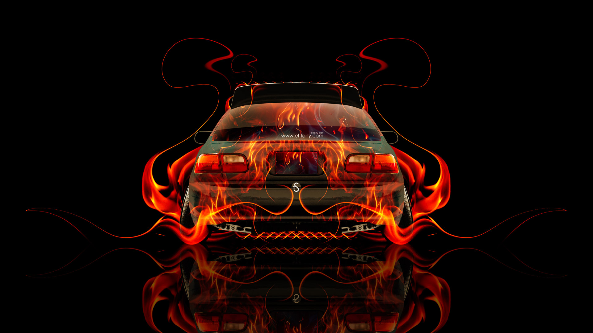 Charmant Honda Civic JDM Back Fire Abstract Car 2014