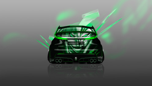 Honda-Civic-Type-R-Back-Anime-Bleach-Aerography-Car-2014-Green-Neon-Effects-4K-Wallpapers-design-by-Tony-Kokhan-[www.el-tony.com]