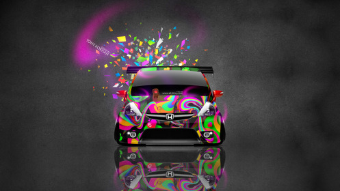 Honda-Fit-Tuning-JDM-Front-Domo-Kun-Toy-Car-2014-Art-Multicolors-HD-Wallpapers-design-by-Tony-Kokhan-[www.el-tony.com]