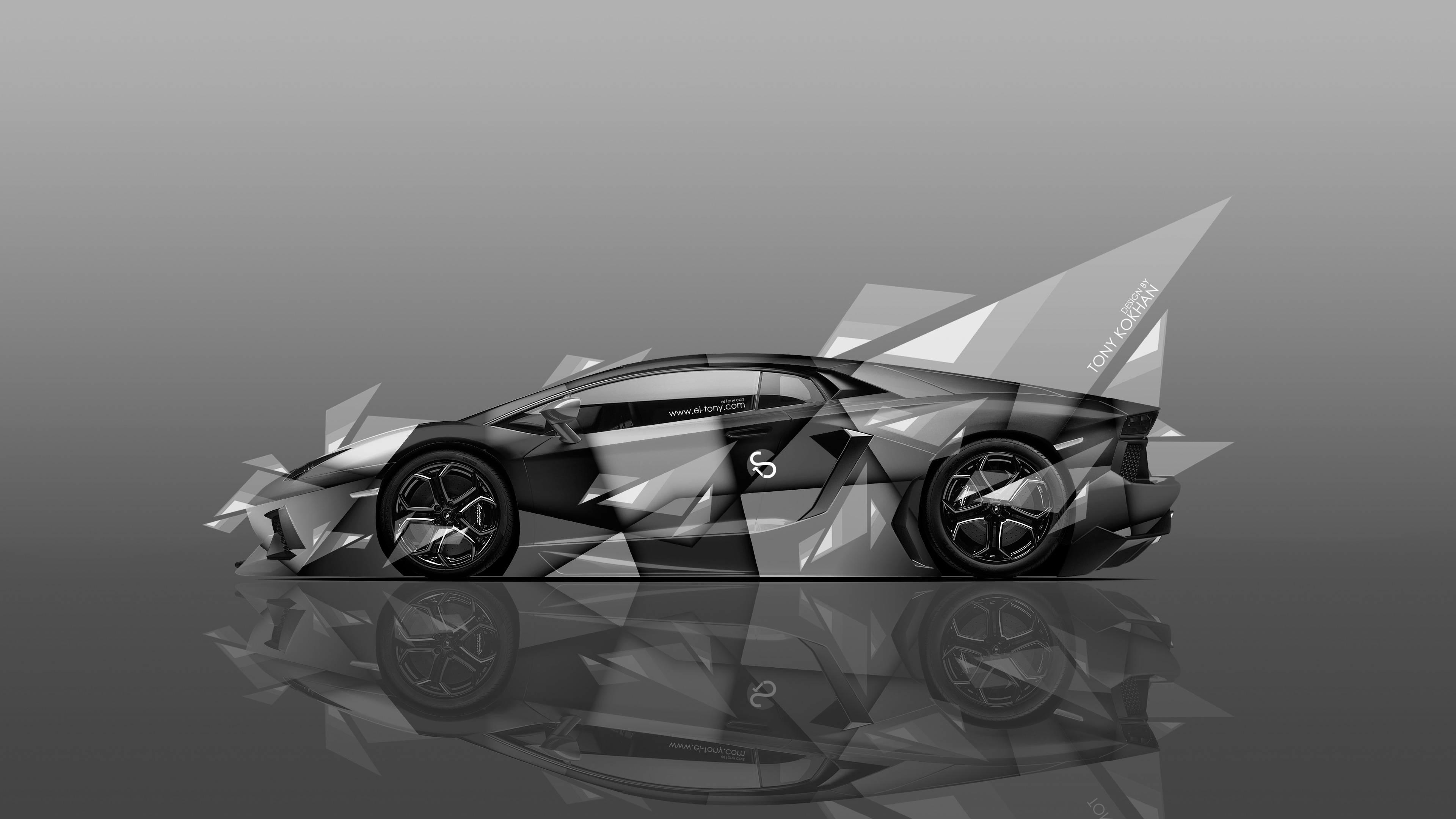 Lamborghini Aventador Side Abstract Aerography Car 2014 Black .
