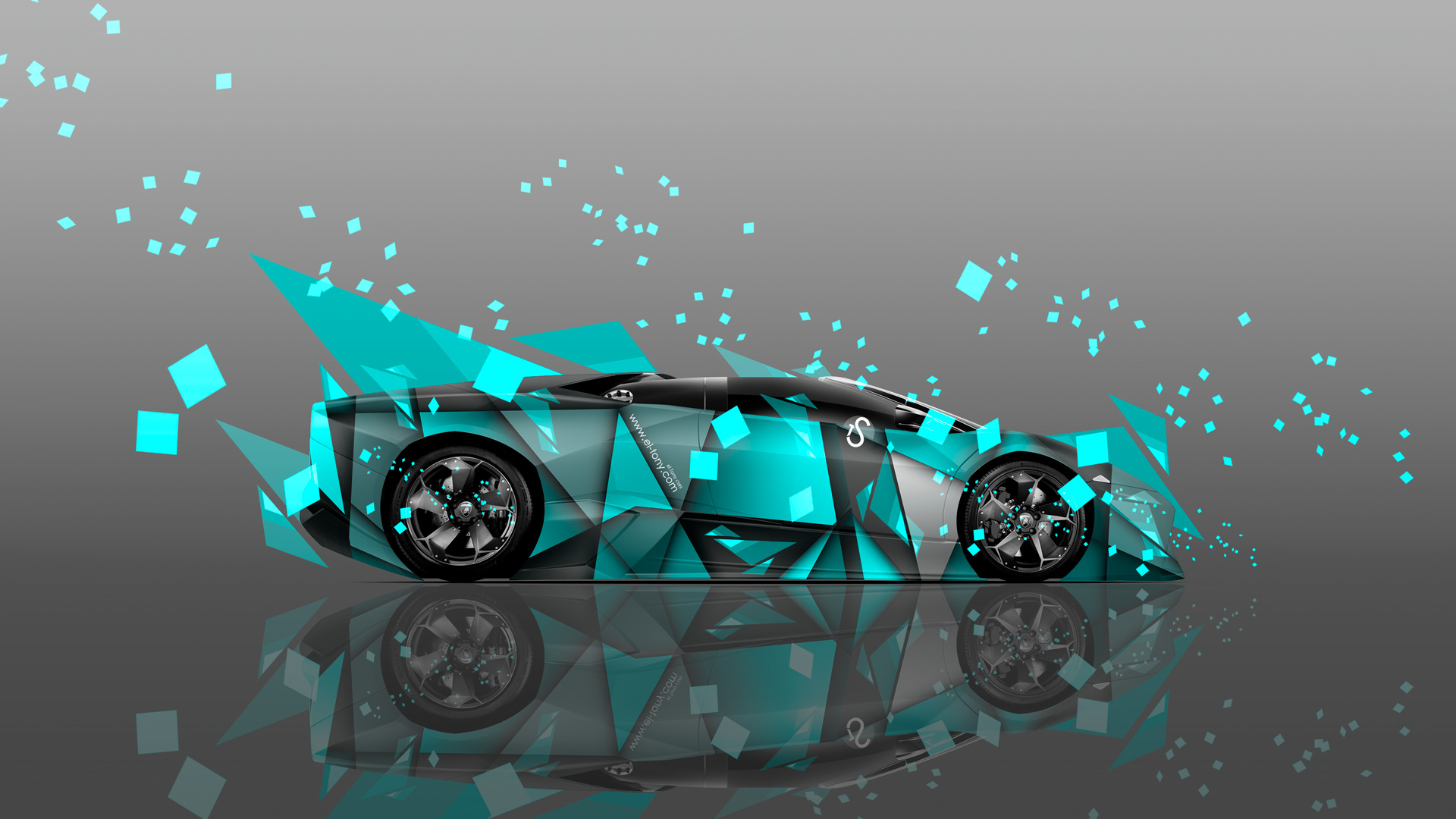 Attractive Lamborghini Reventon Roadster Side Abstract Aerography Car 2014