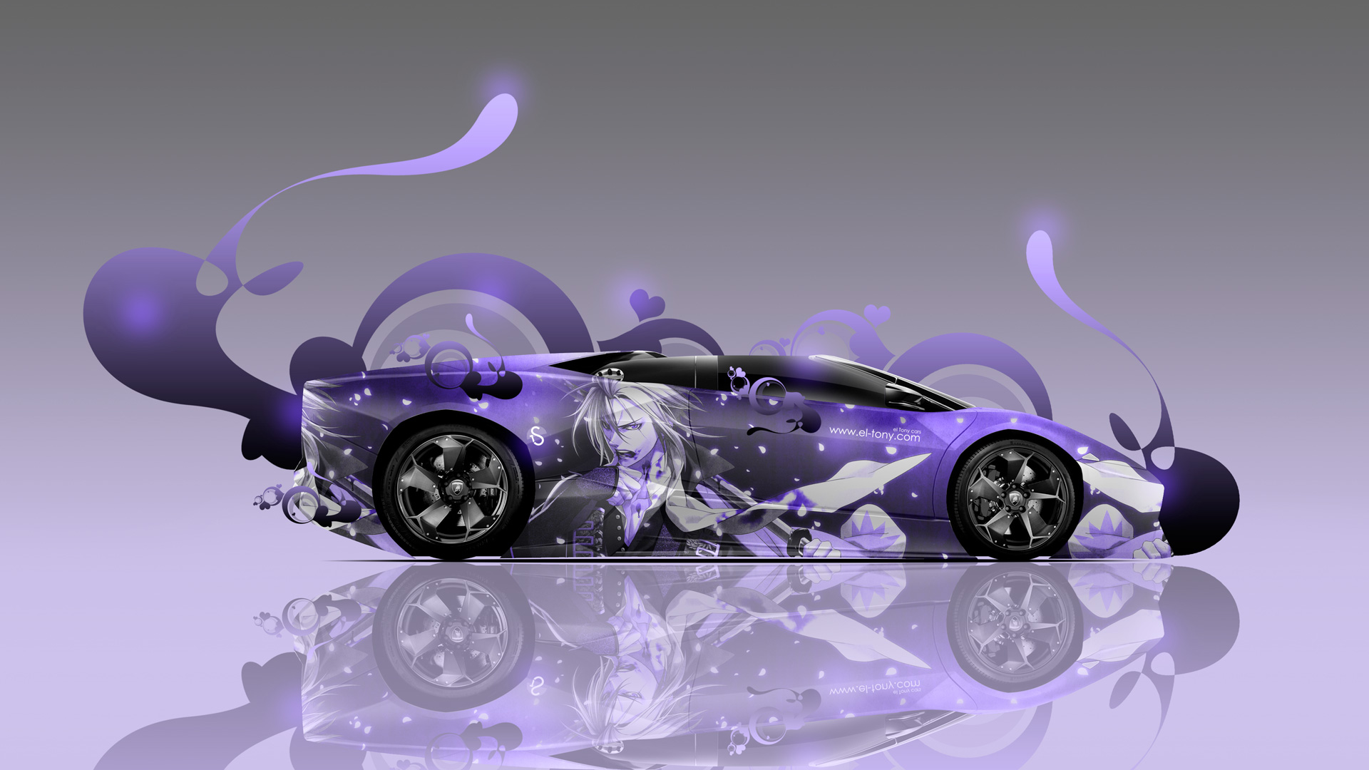 Amazing Lamborghini Reventon Roadster Side Anime Aerography Car 2014