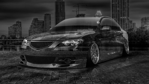 Mazda-3-GT-JDM-Crystal-City-Car-2014-Black-White-HD-Wallpapers-design-by-Tony-Kokhan-[www.el-tony.com]