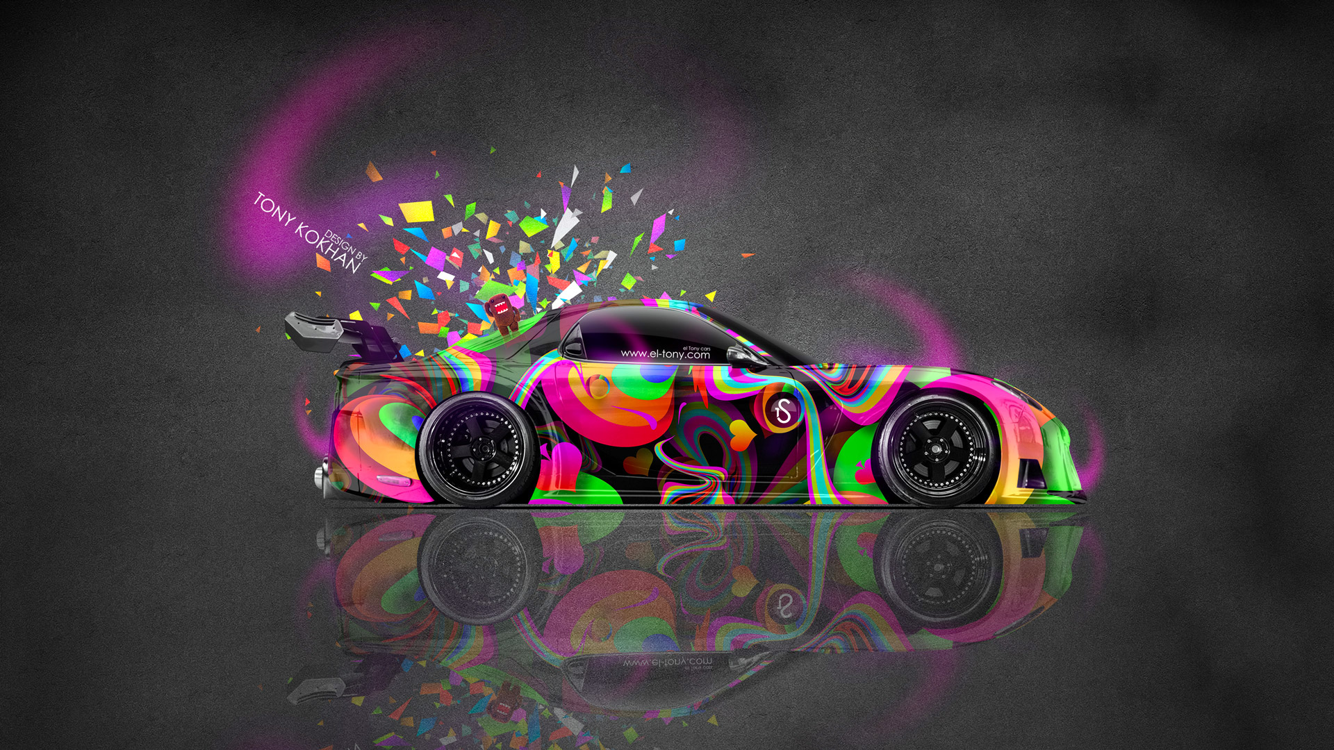 Awesome Mazda RX7 VeilSide JDM Side Abstract Aerography Domo