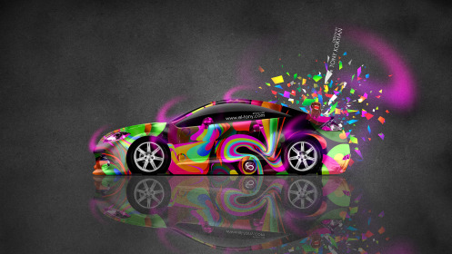 Mitsubishi-Eclipse-JDM-Side-Domo-Kun-Toy-Car-2014-Art-Multicolors-HD-Wallpapers-design-by-Tony-Kokhan-[www.el-tony.com]