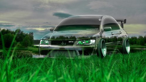 Mitsubishi-Lancer-Evolution-JDM-Tuning-Crystal-Nature-Car-2014-Green-Grass-HD-Wallpapers-design-by-Tony-Kokhan-[www.el-tony.com]