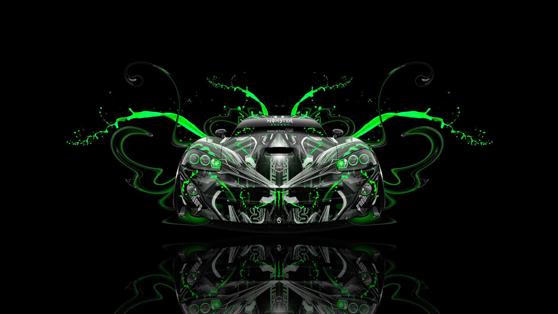 Monster-Energy-Dodge-Viper-SRT-Front-Plastic-Green-Neon-Aerography-Car-2014-HD-Wallpapers-design-by-Tony-Kokhan-[www.el-tony.com]