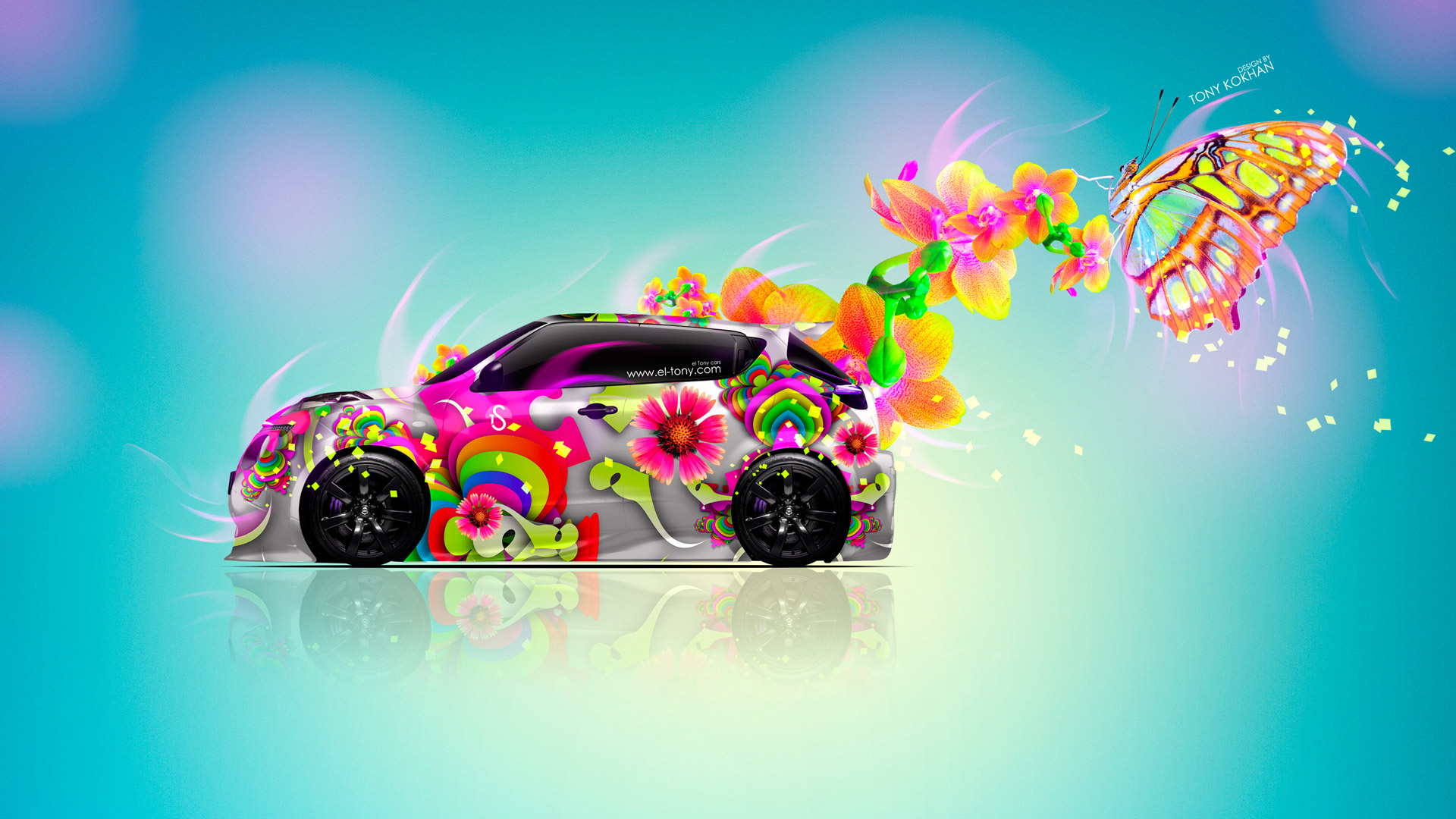 Nissan Juke R Side Fantasy Flowers Butterfly Car